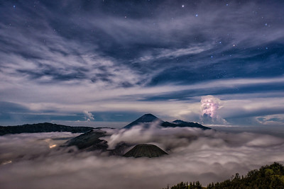 Mount Bromo and Lightning
